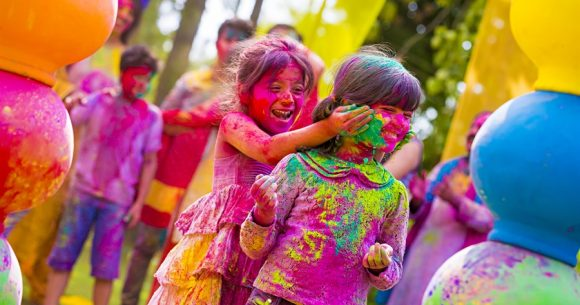 holi celebration in sainik farm in delhi